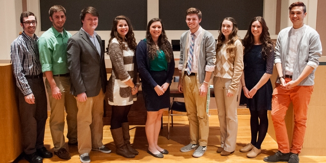 Group shot of new Marywood University SCJ members. From left: Paul Capoccia, Cameron Dieck, Patrick Kernan, Esperanza Gutierrez, Haley O'Brien, Alex Weidner, Anne Zukowski, Juliette Meyers, and Brandon Melo. (Absent from photo: Sophie Pauline) Photo credit: Paul Sevensky