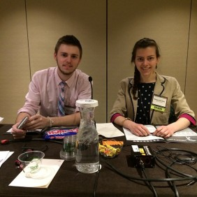"Alex Weidner and Kelsey Van Horn from Marywood University chapter present a session called ""Story Crunch."""