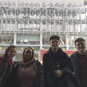 Marywood chapter members in front of their future employer! L to R: Kelsey Van Horn, Satara Dickey, Alex Weidner, and Patrick Kernan