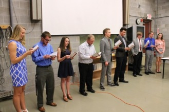 New Hastings SCJ Chapter inductees from L to R: Danielle Shenk, Andy Chase, Kirsten Gilliland, Will Ryan, Jerod Fox and Austin Druse.