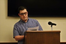 Nick Pesetsky (outgoing president of the chapter) discussing the ethical responsibilities that Society for Collegiate Journalists member must follow.