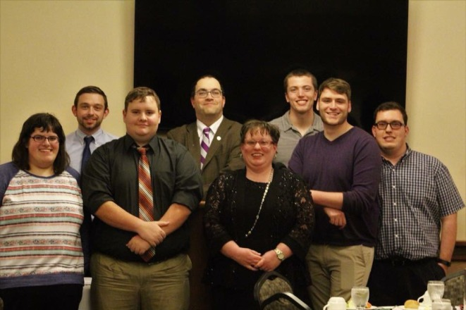 Ohio Northern members in attendance during the ceremony. (front row: Grace Huff, Austin Gammell (current vice-president), Jennifer Kolb, Connor Gillmor (current president) and Nick Pesetsky, back row: Dominic Turnea, Dr. Shane Tilton, and Grant Pepper, not pictured: Emily Richards and Samuel Pontarolo)