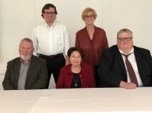 L-R: Front row- Alistair McCreery, Joan Bauer, Charlie Deitch. Back row- Dr. Anthony Moretti and Carrie Moniot